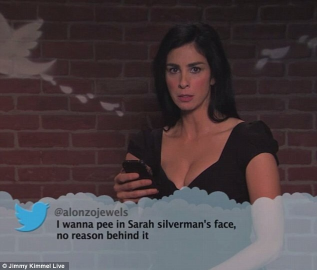 Lady - @alonzojewels I wanna pee in Sarah silverman's face no reason behind it Jimmy Kimmel Live