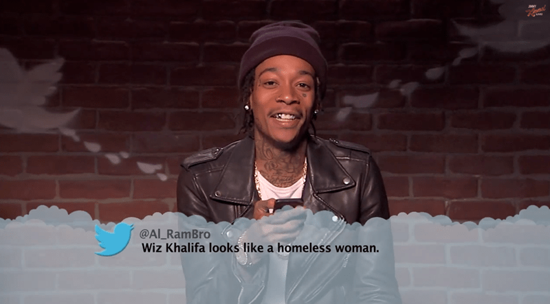 Fun - @AL RamBro Wiz Khalifa looks like a homeless woman.