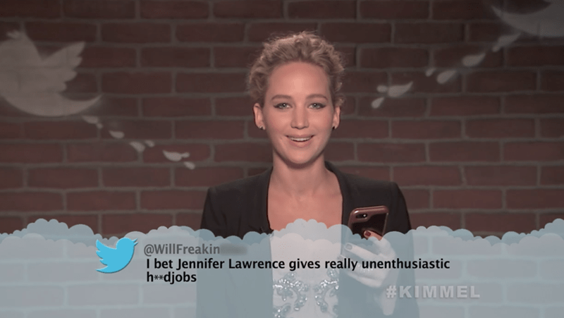 Smile - @WillFreakin I bet Jennifer Lawrence gives really unenthusiastic h*djobs #KIMMEL