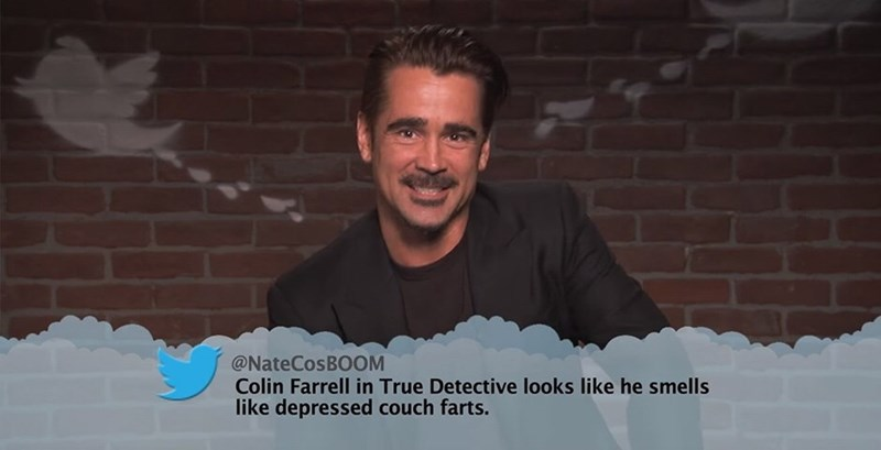 Facial expression - @NateCosBOOM Colin Farrell in True Detective looks like he smells like depressed couch farts.
