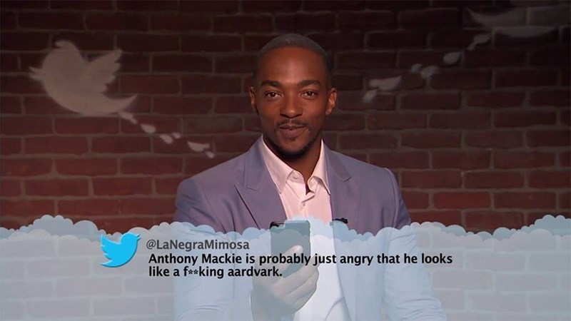 Text - @LaNegraMimosa Anthony Mackie is probably just angry that he looks like a f*king aardvark.