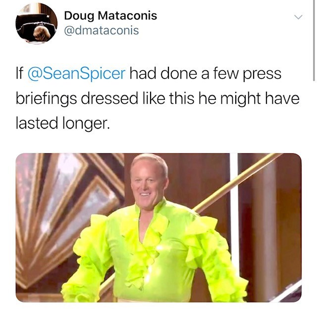 Workwear - Doug Mataconis @dmataconis If @SeanSpicer had done a few press briefings dressed like this he might have lasted longer.