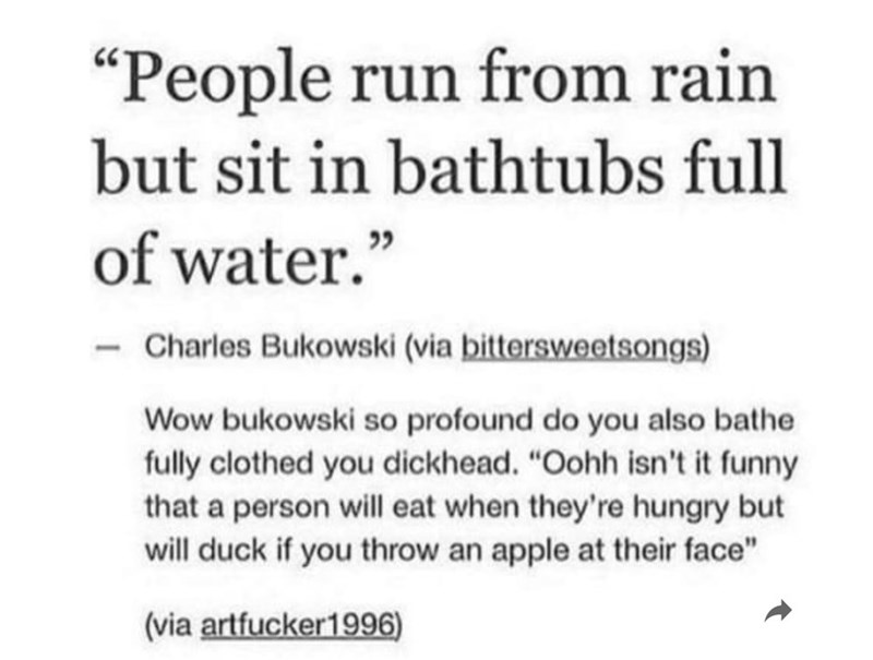 "Text - ""People run from rain but sit in bathtubs full of water."" 22 Charles Bukowski (via bittersweetsongs) Wow bukowski so profound do you also bathe fully clothed you dickhead. ""Oohh isn't it funny that a person will eat when they're hungry but will duck if you throw an apple at their face"" (via artfucker1996)"
