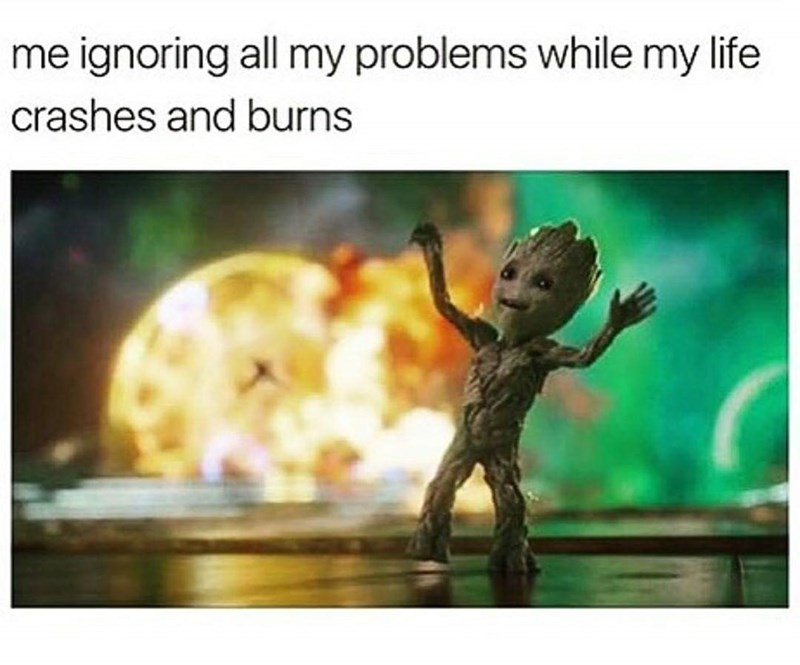 Adaptation - me ignoring all my problems while my life crashes and burns