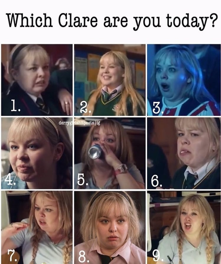 Text - Face - Which Clare are you today? 1. . $3 derryg lshitposts i8 5. $4  6. 7. 8.