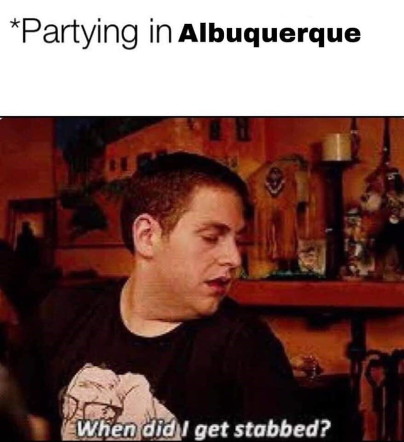 Text - Forehead - Partying in Albuquerque When didl get stabbed?