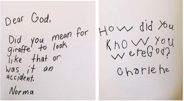 funny questions to god, kids write letters to god