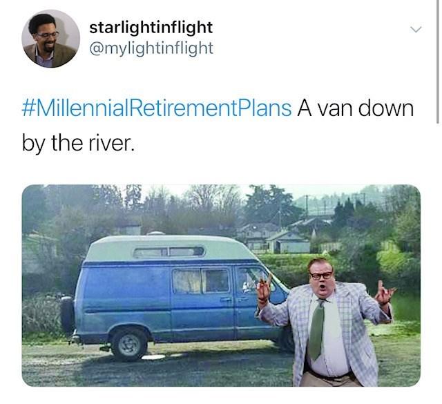 Motor vehicle - starlightinflight @mylightinflight #MillennialRetirementPlans A van down by the river.