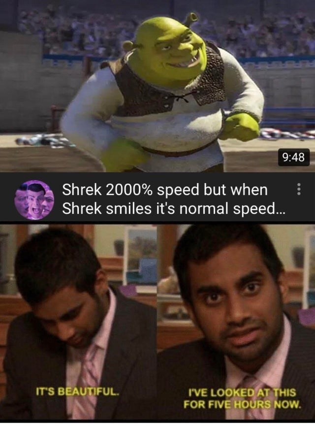 Photo caption - 9:48 Shrek 2000% speed but when Shrek smiles it's normal speed.. IT'S BEAUTIFUL I'VE LOOKEDAT THIS FOR FIVE HOURS NOW