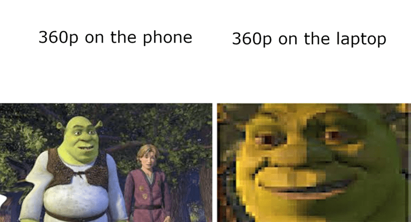 Photo caption - Face - 360p on the phone 360p on the laptop