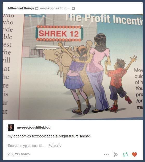 Text - littleshrekthings eaglebones falc... The Profit Incenti who who ide ble est the vill SHREK 12 at Mov quid of h You pro for he re is ma at mypreciouslittleblog my economics textbook sees a bright future ahead Source: mypreciouslitt. #classic 292,393 notes