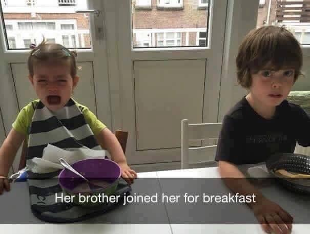 Child - HIEEF Her brother joined her for breakfast