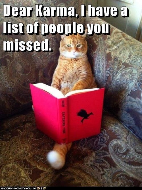 Cat - Dear Karma, I have a list of people you missed CATCHING FIE