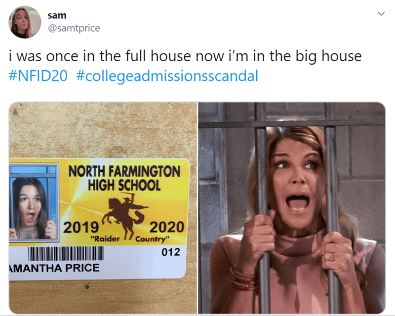 "Face - sam @samtprice i was once in the full house now i'm in the big house #NFID20 #collegeadmissionsscandal NORTH FARMINGTON HIGH SCHOOL 2019 2020 Country"" ""Raider 012 AMANTHA PRICE #D"