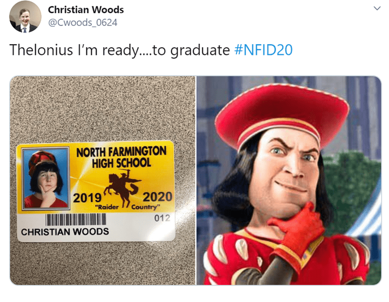 "Headgear - Christian Woods @Cwoods_0624 Thelonius I'm ready....to graduate #NFID2 NORTH FARMINGTON HIGH SCHOOL 2020 Country"" 2019 ""Raider 012 CHRISTIAN WOODS"