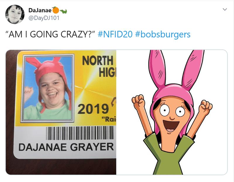 "Cartoon - DaJanae @DayDJ101 ""AM I GOING CRAZY?"" #NFID20 #bobsburgers NORTH HIG 2019 ""Rai DAJANAE GRAYER"
