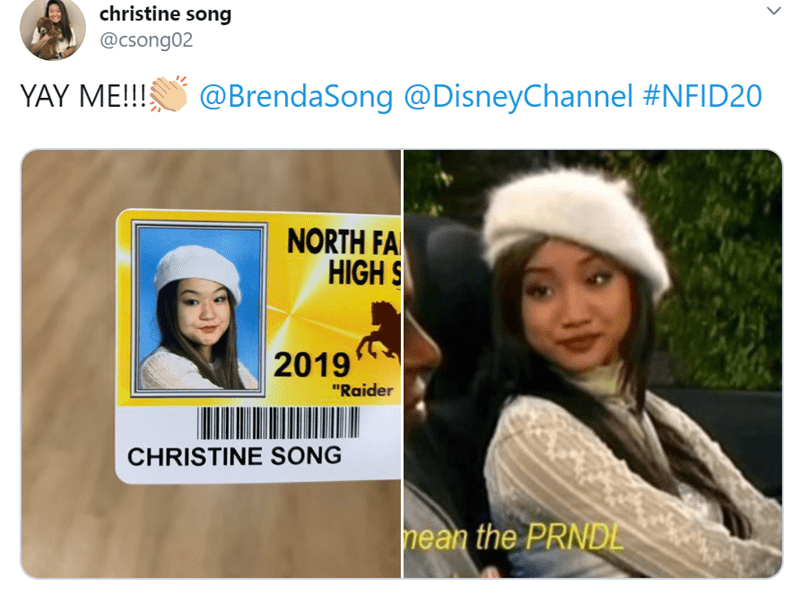 """Text - christine song @csong02 YAY ME!! @BrendaSong @DisneyChannel #NFID20 NORTH FA HIGH S 2019 """"Raider CHRISTINE SONG hean the PRNDE"""