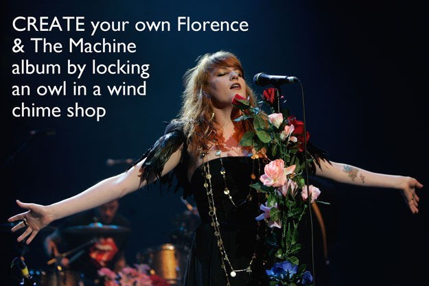 Performance - CREATE your own Florence & The Machine album by locking an owl in a wind chime shop