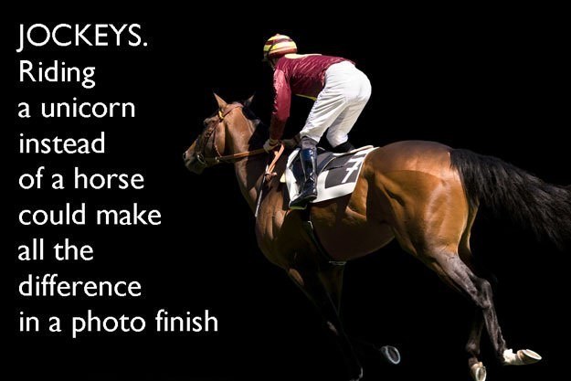 Horse - JOCKEYS. Riding a unicorn instead of a horse could make all the difference in a photo finish