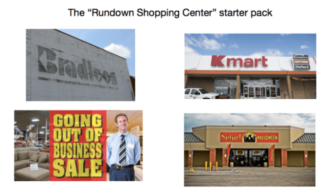 "Product - The ""Rundown Shopping Center"" starter pack Cradlow Kmart GOING OUT OF BUSINESS SALE SpiR HALLOWEEN"