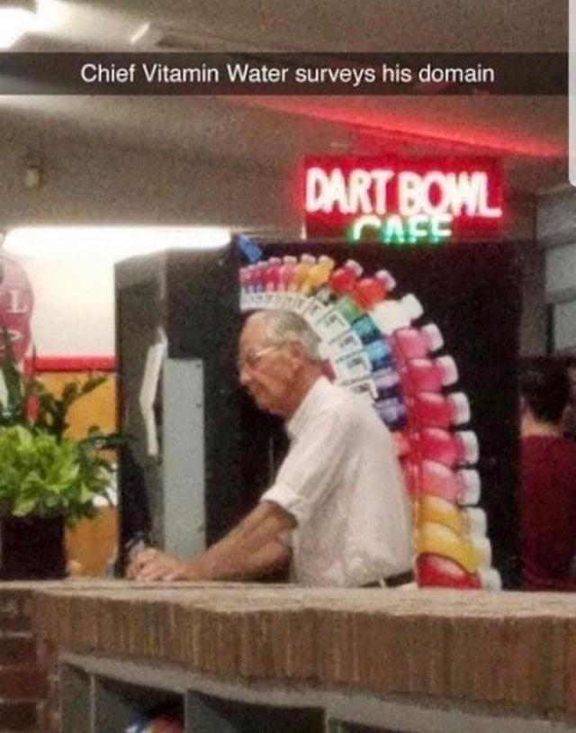 Chief Vitamin Water surveys his domain DART BOWL CAF