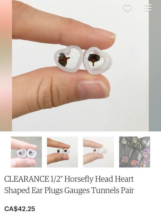 """Nose - CLEARANCE 1/2"""" Horsefly Head Heart Shaped Ear Plugs Gauges Tunnels Pair CA$42.25"""
