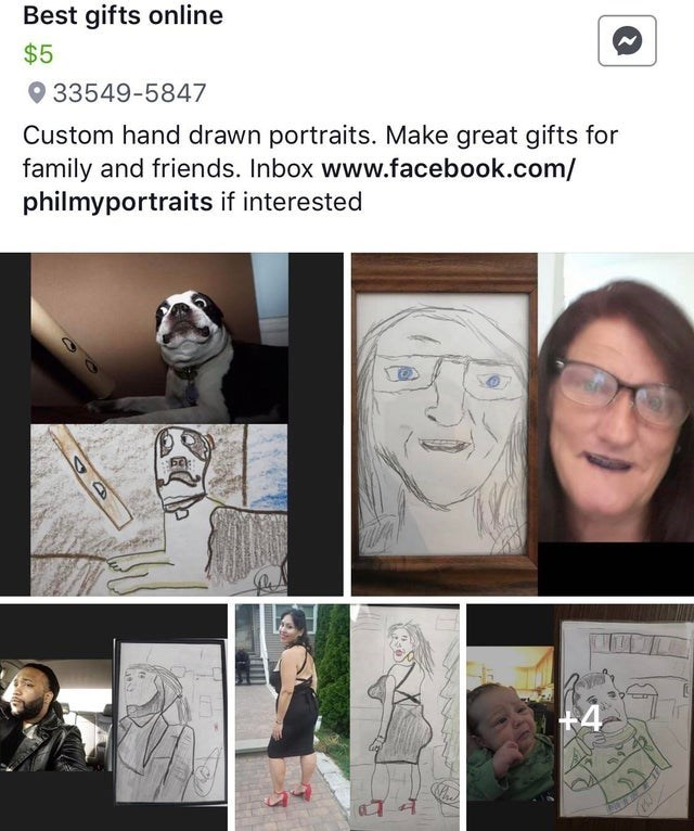 Face - Best gifts online $5 33549-5847 Custom hand drawn portraits. Make great gifts for family and friends. Inbox www.facebook.com/ philmyportraits if interested