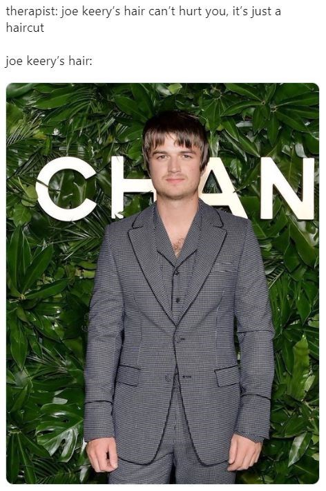 Face - Green - therapist: joe keery's hair can't hurt you, it's just a haircut joe keery's hair: CHAN