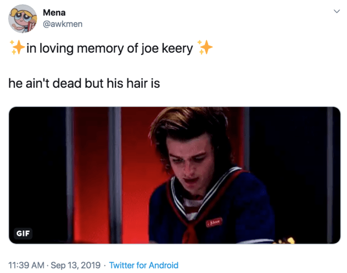 Face - Text - Mena @awkmen in loving memory joe keery he ain't dead but his hair is Stee GIF 11:39 AM Sep 13, 2019 Twitter for Android