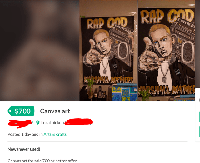 Text - RHP CAD EMINE RAP GAD EMINE 49 2944711 M4THERS 48 29 1900 4THE Canvas art $700 Local pickup Posted 1 day ago in Arts & crafts New (never used) Canvas art for sale 700 or better offer