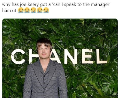 Tree - why has joe keery got a 'can I speak to the manager' haircut f a f CHANEL