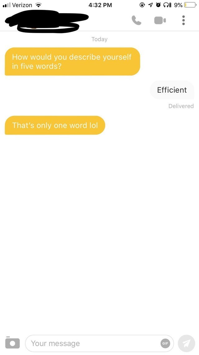 Text - 9% l Verizon @ 4:32 PM Today How would you describe yourself in five words? Efficient Delivered That's only one word lol Your message GIF