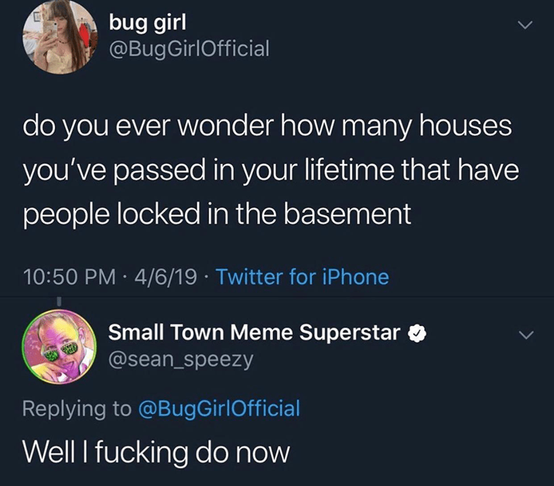 Text - bug girl @BugGirlOfficial do you ever wonder how many houses you've passed in your lifetime that have people locked in the basement 10:50 PM 4/6/19 Twitter for iPhone Small Town Meme Superstar @sean_speezy Replying to @BugGirlOfficial Well I fucking do now