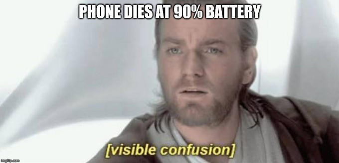 Forehead - PHONE DIESAT 90% BATTERY [visible confusion] pam