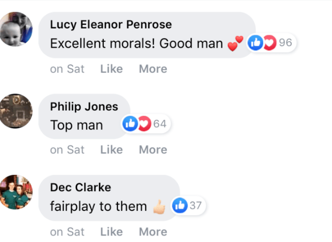 Text - Lucy Eleanor Penrose Excellent morals! Good man 96 on Sat Like More Philip Jones Top man 64 on Sat Like More Dec Clarke T37 fairplay to them Like More on Sat