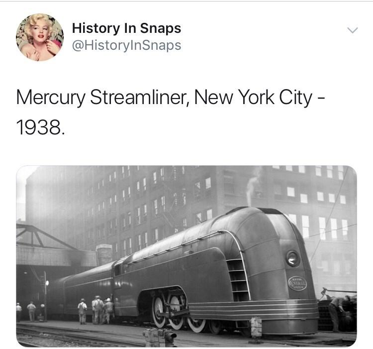 Transport - History In Snaps @HistoryInSnaps Mercury Streamliner, New York City 1938 ENTRAL