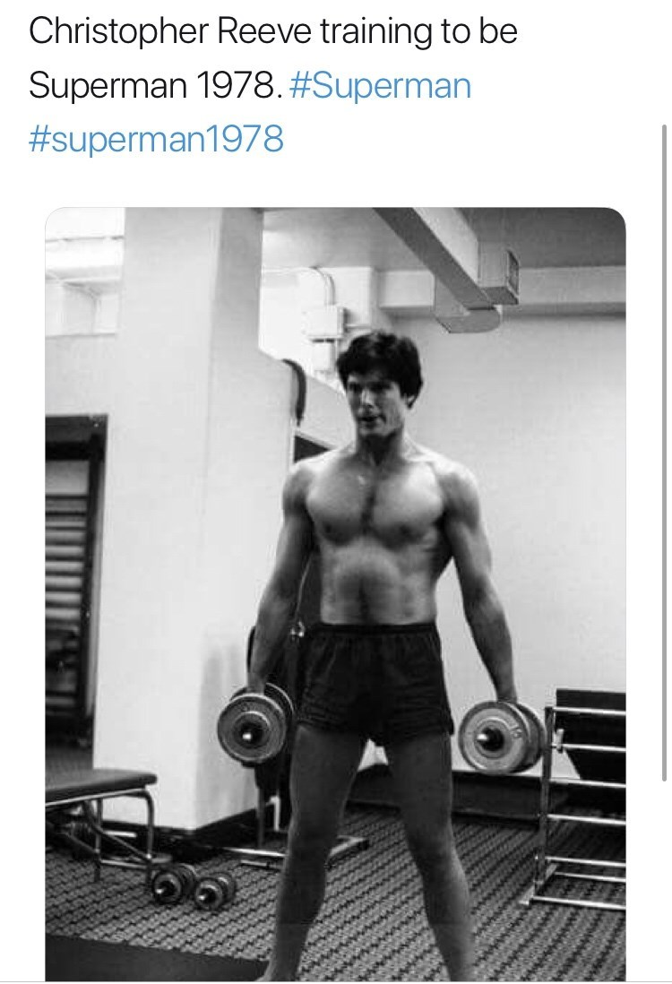 Bodybuilding - Christopher Reeve training to be Superman 1978.#Superman #superman1978