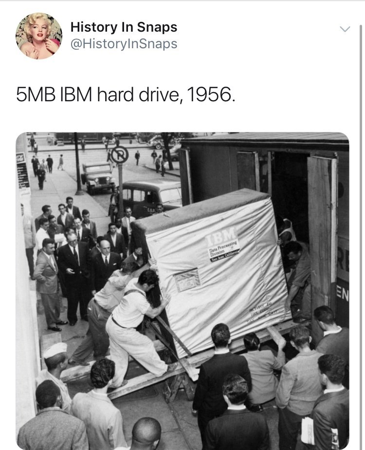 Photography - History In Snaps @HistoryInSnaps 5MB IBM hard drive, 1956. ТВм. Deta Proceing Division EN ax