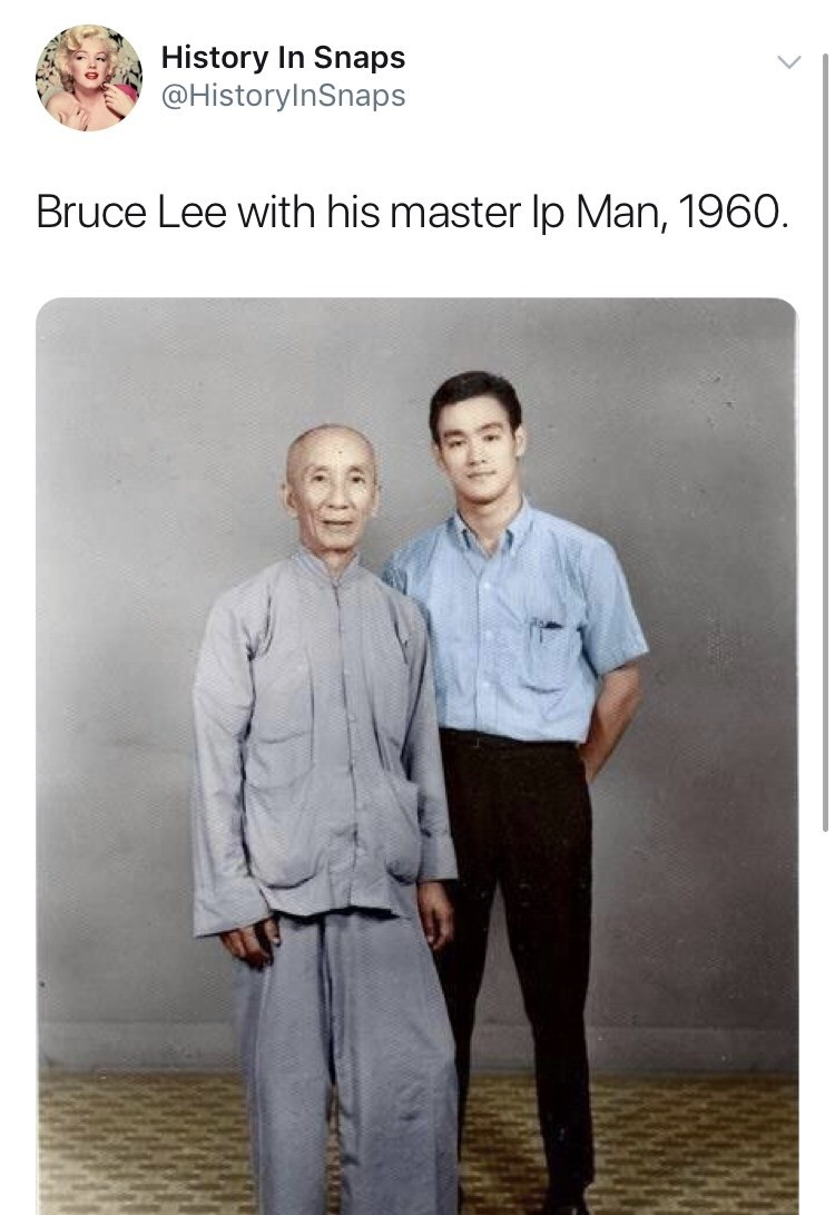 Pattern - History In Snaps @HistoryInSnaps Bruce Lee with his master lp Man, 1960.