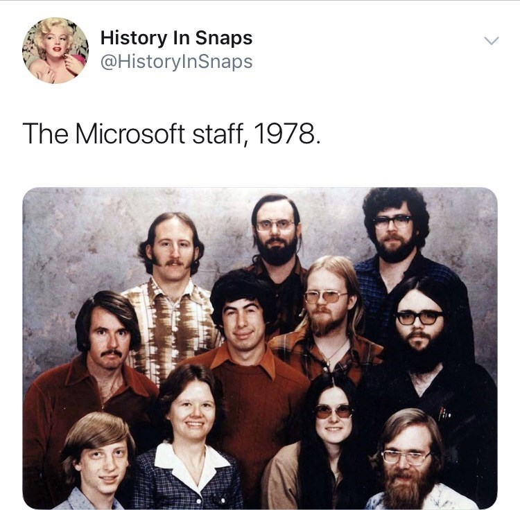 Text - People - History In Snaps @HistoryInSnaps The Microsoft staff, 1978