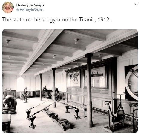 Building - History In Snaps @HistoryinSnaps The state of the art gym on the Titanic, 1912