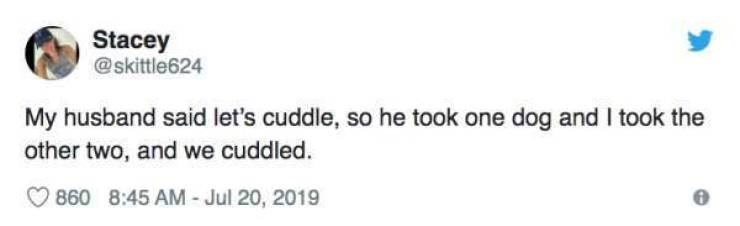 Text - Stacey @skittle624 My husband said let's cuddle, so he took one dog and I took the other two, and we cuddled 860 8:45 AM - Jul 20, 2019