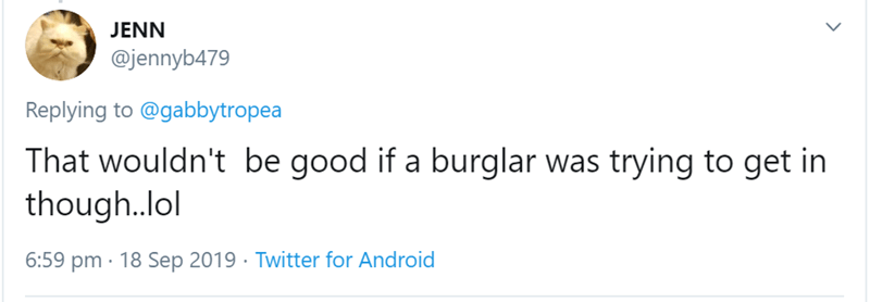 Text - JENN @jennyb479 Replying to@gabbytropea That wouldn't be good if a burglar was trying to get in though.lol 6:59 pm 18 Sep 2019 Twitter for Android