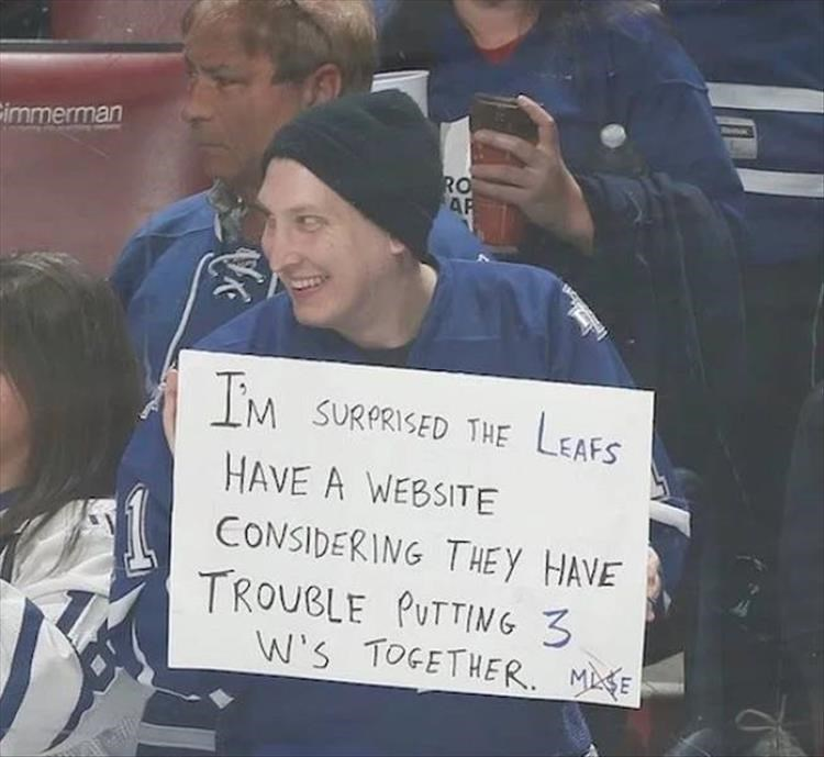 Interaction - immerman RO AP M SURPRISED THE LEAFS HAVE A WEBSITE CONSIDERING THE Y HAVE TROUBLE PUTTING 3 W's TOGETHER. ME