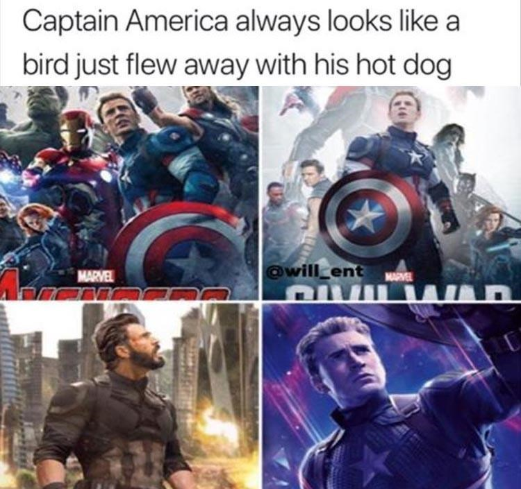 Captain america - Captain America always looks like a bird just flew away with his hot dog @will ent w QVI MARVEL