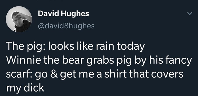 Text - David Hughes @david8hughes The pig: looks like rain today Winnie the bear grabs pig by his fancy scarf: go & get me a shirt that covers my dick