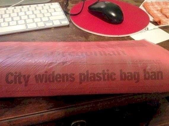 Pink - City widens plastic bag ban