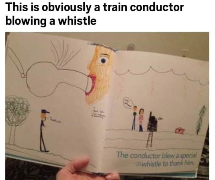 Text - This is obviously a train conductor blowing a whistle The conductor blew a special whistle to thank him