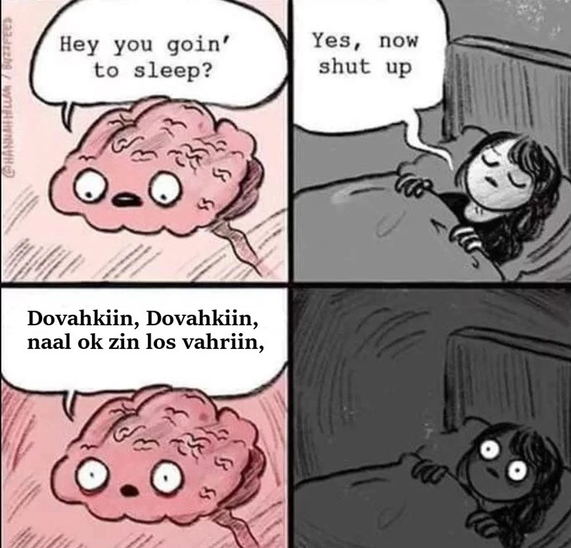 Cartoon - Hey you goin to sleep? Yes, now shut up Dovahkiin, Dovahkiin, naal ok zin los vahriin, COHANMALHCLA7 DPees