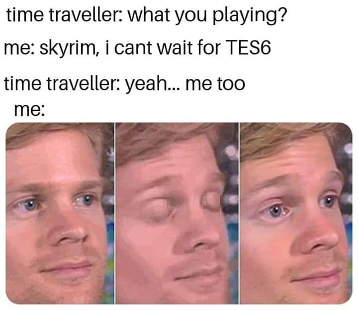 Face - time traveller: what you playing? me: skyrim, i cant wait for TES6 time traveller: yea... me too me: 31